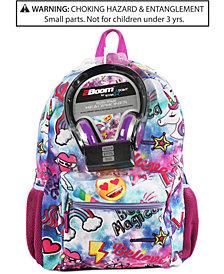 FAB Little & Big Girls Unicorn Galaxy-Print Backpack & Headphones