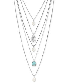 """Lucky Brand Silver-Tone Shell, Stone & Imitation Pearl Layered Necklace, 17"""" + 2"""" extender"""