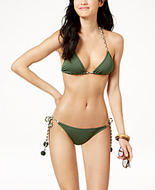 Vince Camuto Braided-Strap Halter Top & Cheeky Bikini Bottoms