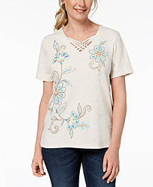 Alfred Dunner Scottsdale Lattice-Trim Top