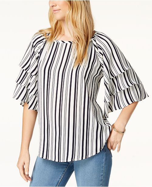 Created for Macy's Charter Tiered Club Top Navy Sleeve Stripe Cloud xBwHUqIvH