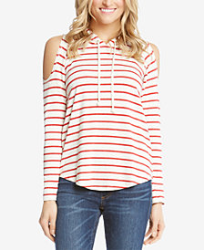 Karen Kane Striped Cold-Shoulder Hoodie