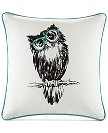 "Owlfred 20"" Square Owl Embroidered Decorative Pillow"