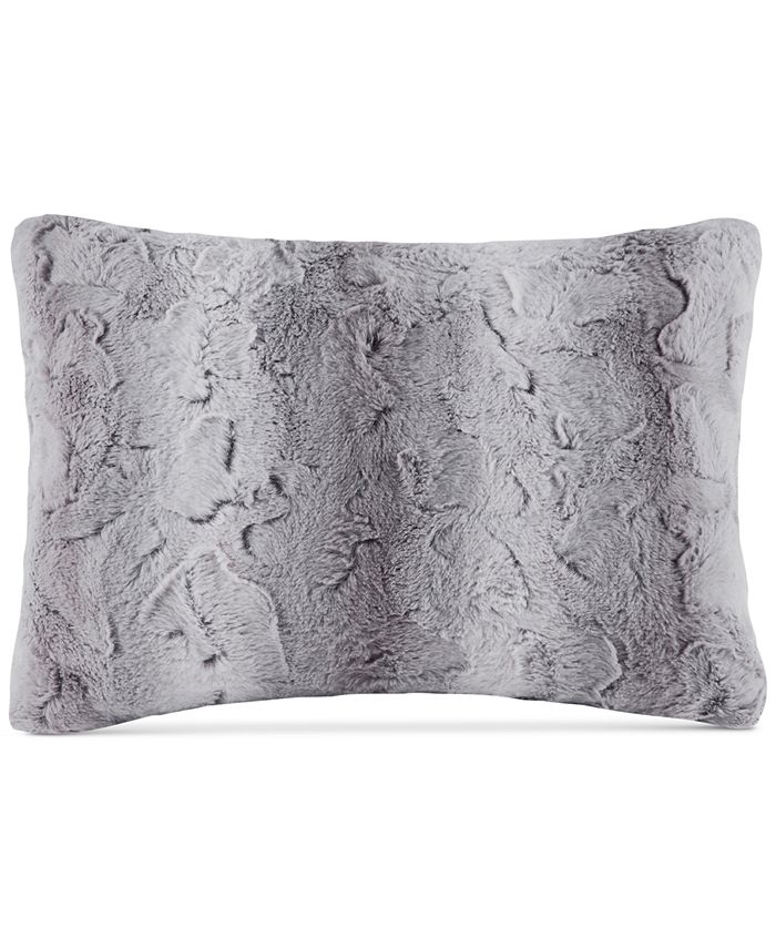 """Madison Park - Zuri Faux-Fur 14"""" x 20"""" Oblong Decorative Pillow"""