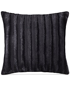 "Duke Ribbed 20"" Square Faux-Fur Decorative Pillow"