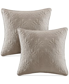 "Quebec Quilted 20"" Square Decorative Pillow Pair"