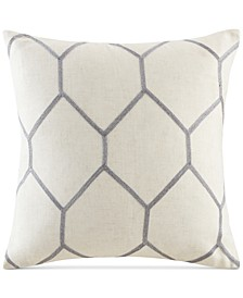 "Brooklyn 20"" Square Metallic Geo-Embroidered Decorative Pillow Pair"