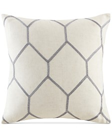 "Madison Park Brooklyn 20"" Square Metallic Geo-Embroidered Decorative Pillow Pair"