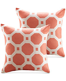 "Madison Park Charis 20"" Square Geometric Jacquard Pair of Decorative Pillows"