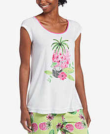 HUE® Tropical-Graphic Pajama Top