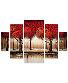 """Rio 'Parade of Red Trees' Large Multi-Panel Wall Art Set, 2"""" x 40"""" x 58"""""""