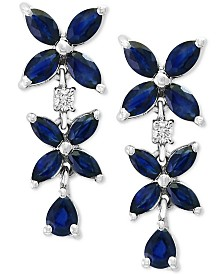 EFFY® Sapphire (2 3/4 ct. t.w) & Diamond (1/10 ct. t.w) Earrings in 14k White Gold