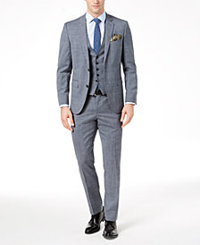 Hugo Boss Men's Modern-Fit Stretch Gray/Blue Glen Plaid Vested Suit