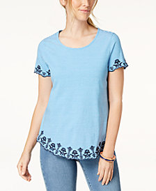 Charter Club Cotton Striped Embroidered T-Shirt, Created for Macy's