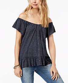 Lucky Brand Off-The-Shoulder Peplum Top