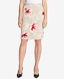 Calvin Klein Floral-Print Pencil Skirt
