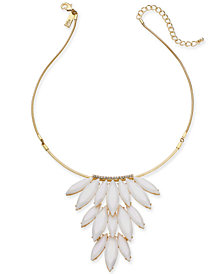 "I.N.C. Gold-Tone Stone Cluster Statement Necklace, 16"" +3 extender, Created for Macy's"
