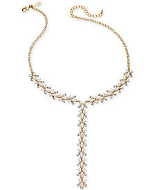 "I.N.C. Gold-Tone Crystal & Stone Lariat Necklace, 20"" + 3"" extender, Created for Macy's"