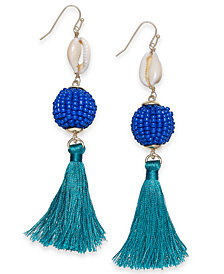I.N.C. Gold-Tone Shell, Beaded Ball & Tassel Drop Earrings, Created for Macy's