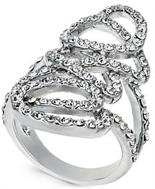 I.N.C. Silver-Tone Pavé Tangle Ring, Created for Macy's
