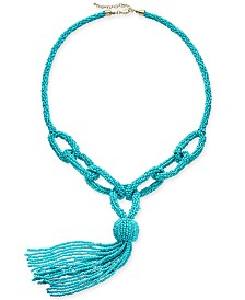 """I.N.C. Gold-Tone Beaded Loop Lariat Necklace, 38"""" + 3"""" extender, Created for Macy's"""