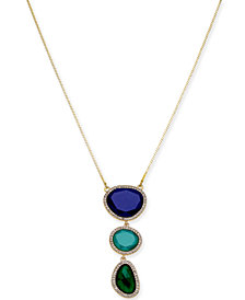 "I.N.C. Gold-Tone Triple-Stone Pendant Necklace, 33"" + 3"" extender, Created for Macy's"