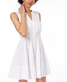 Maison Jules Eyelet Fit & Flare Dress, Created for Macy's