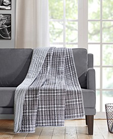 "Daryl 60"" x 70"" Oversized Quilted Plaid Throw"