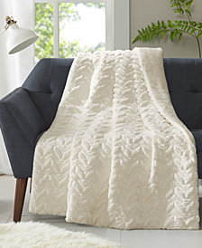 "Intelligent Design Laila 50"" x 60"" Textured Chevron Faux-Fur Down Alternative Throw"
