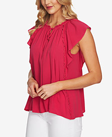 CeCe Ruffled Tie-Neck Top