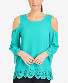 NY Collection Cold-Shoulder Scalloped-Edge Top