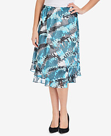 NY Collection Tiered A-Line Skirt