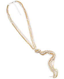 "Charter Club Two-Tone Knotted Multi-Chain Tassel Pendant Necklace, 24"" + 3"" extender, Created for Macy's"