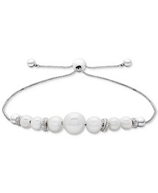 Cultured Freshwater Pearl (4-1/2mm to 8-1/2mm) & Diamond Accent Bolo Bracelet in Sterling Silver