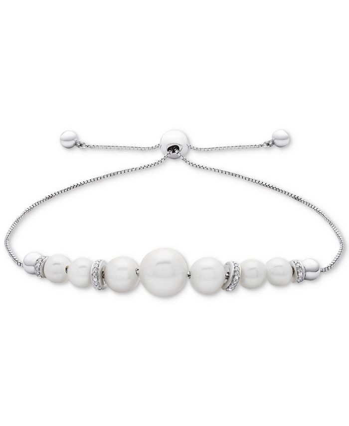 Macy's - Cultured Freshwater Pearl (4-1/2mm to 8-1/2mm) & Diamond Accent Bolo Bracelet in Sterling Silver