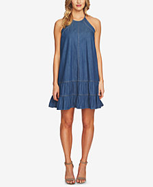 CeCe Cotton Ruffled A-Line Dress