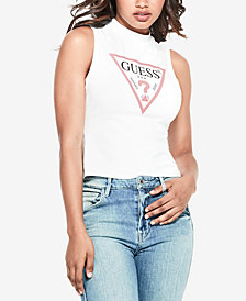 GUESS Graphic Mock-Neck Tank Top