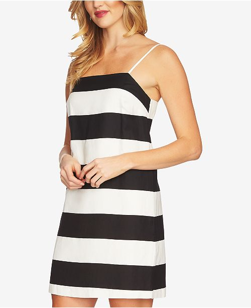 Black Dress CeCe Spaghetti Striped Strap Rich wXw1apqg