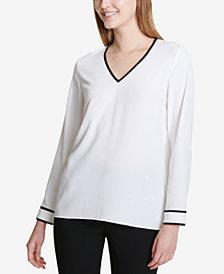 Calvin Klein V-Neck Colorblock-Trim Top
