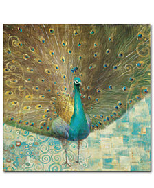 "Danhui Nai 'Teal Peacock on Gold' 35"" x 35"" Canvas Wall Art"