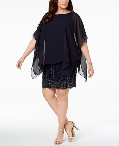 Xscape Plus Size Beaded Chiffon-Cape Dress