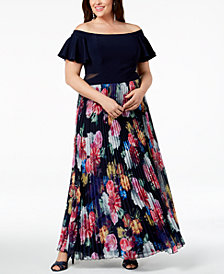Xscape Plus Size Pleated Floral Off-The-Shoulder Gown