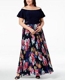 Xscape Plus Size Pleated Floral Off-The-Shoulder Gown