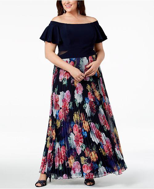 f6c6c52d XSCAPE Plus Size Pleated Floral Off-The-Shoulder Gown & Reviews ...