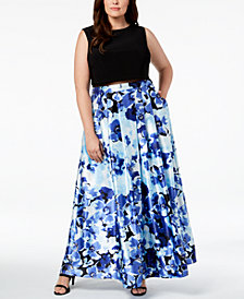 Betsy & Adam Plus Size Illusion Floral-Print Gown