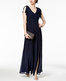 Adrianna Papell Pleated Illusion-Sleeve Gown