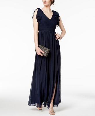 Adrianna Papell Pleated Illusion Sleeve Gown Dresses Women Macys