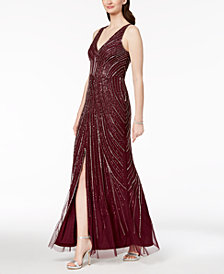 Adrianna Papell Embellished Slit Gown