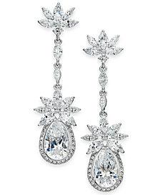 Danori Silver-Tone Crystal Flower Linear Drop Earrings, Created for Macy's