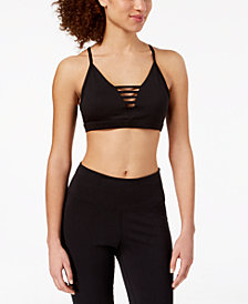 Material Girl Active Juniors' Cage-Front Sports Bra, Created for Macy's